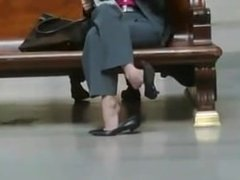 Candid Shoeplay Seated Dipping at Trian - My Babe from CHEAT-MEET.COM