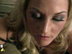 Blonde MILF in lingerie gives handjob