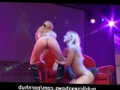 2 girls have a threesome at strip show