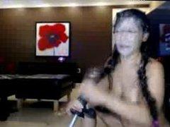 Amateur Sluty Brunette Enjoys Her Cum Dildo