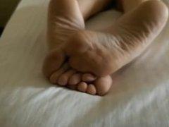 Sleeping girlfriend feet