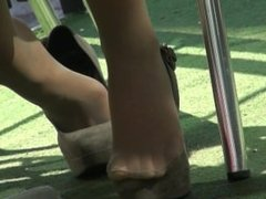 candid shoeplay in pumps[]