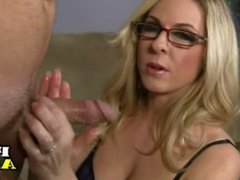 Sexy MILF in lingerie gives handjob