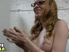 Redhead in glasses jerks a guy off