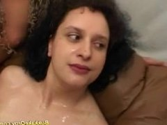 Laila from 1fuckdate.com - German curly eat cum in gangbang