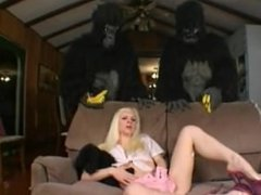 Funny: Blonde Teen Gets Fucked by 2 Gorillas