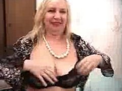 Sexy Blonde Granny With Big Tits Dildoing