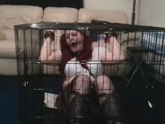 Caged cuffed and gagged