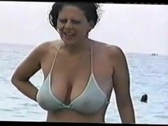Hot big tit mom at the beach. Catrice from 1fuckdate.com