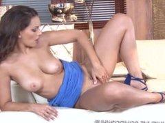 Eve Angel brand new and stylish masturbation scene with a steel dildo