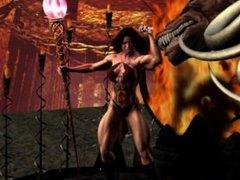 Fantasy Muscle Girl sacrificed