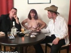 Poker leads to 3some with old bitch in stockings