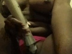 Ebony chick with nice tits squirting
