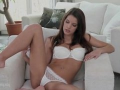 candi masurbates with vibrator  rubs her pussy on a chair