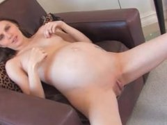 Hot Preggo girl fucking her pussy with a toy