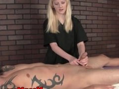 Feisty femdom masseuse ruins clients orgasm