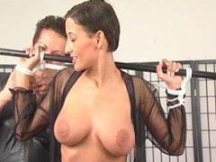 Pretty slut gets her amazing tits tied