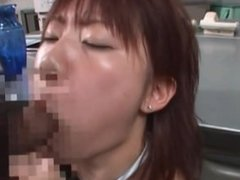 Japanese redhead swallows cum off a thick boner after delivering a spicy blowjob