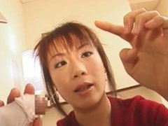 Desirous Asian in nylon lingerie drinks cum of a fuckrod after being humped