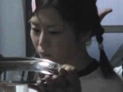 Japanese cutie gets gang banged then downs a load of hot nut butter