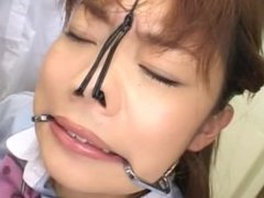 Japanese babe with a fetish splashed with cum