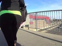 Hot fit teen walking with tight yoga pants leggings