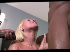 Nympho blond milf from Sexdatemilf.com throating and sucking 2 BBCs