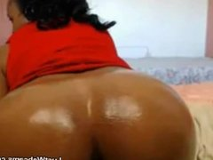 Ebony BBW with huge tits fists her ass in front of webcam
