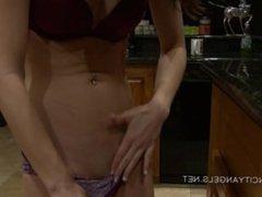 Young Teen Masturbates on kitchen counter til orgasm!