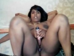 Indian girl masturbates with dildo on webcam