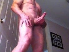 Big cock rub. Muscle guy masterbates as GF videos