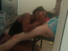 Busty black girl sucks and fucks white dick Our first sex tape