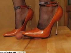 High Heel Cock and Ball trample Orange M - She is on DOM-MATCH.COM