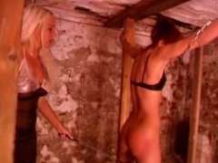 Fantastic blonde MILF spanks stunning redhead whore