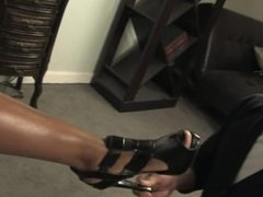 Beautiful Black Mistress and footslave