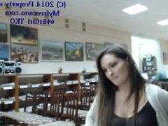 Library girl flashing on webcam