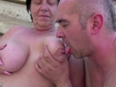 Old Grandma get fucked Outdoor by Grandson