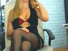 Blonde In Black Pantyhose Tease On Webcam