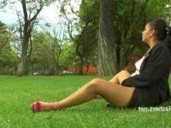 Amateur latina Beatriz flashing and public masturbation of nude exotic