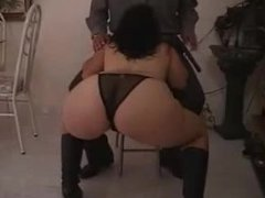 Sexy hot ass milf in long leather . Justina from 1fuckdate.com