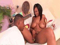 Busty ebony babe gives great blowjob