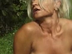 Hard outdoor fucking for german mature slut