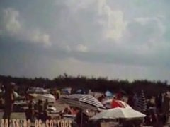 Blowjob on nudist french beach. Dona from 1fuckdate.com