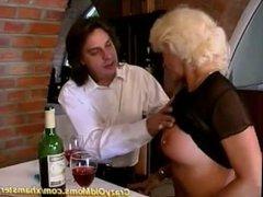 German mom fucks anally in restaurant
