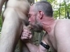 Ball torture while giving blow job in public woods