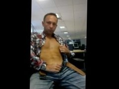 Hardbodied Gay guy jerking his fat cock at the office - BIG Load