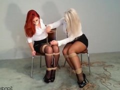 Two secretaries chair tied and gagged