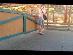 Voyeur smoking at theme park. Lissette from 1fuckdate.com