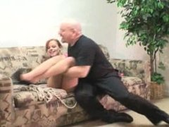 Birthday girl Jessica gets spanked and hogtied