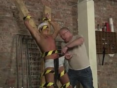 Gay black haired boys Blindfolded, gagged, tormented and flogged, the